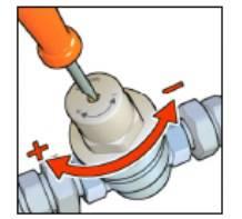 regulagem da Válvula redutora de pressão de ação direta
