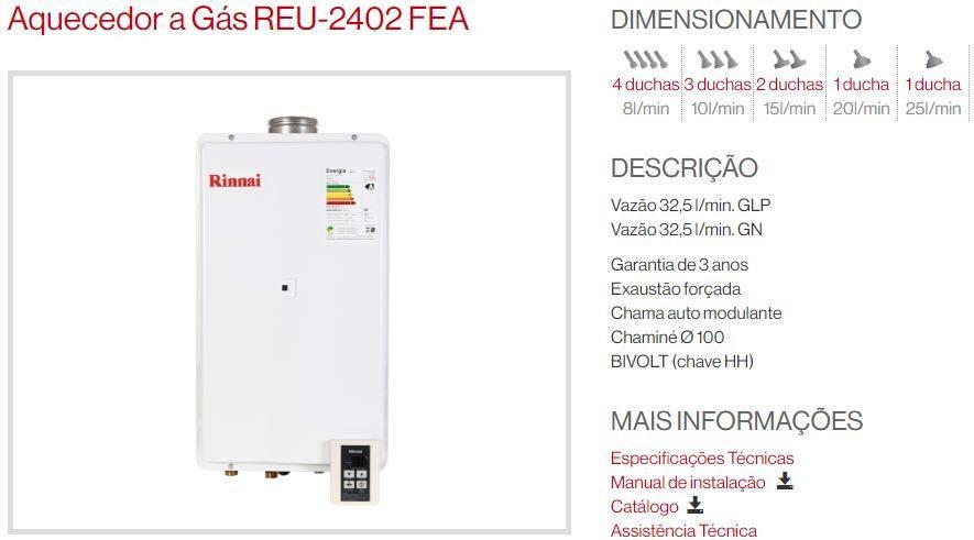 Aquecedor a gás Rinnai REU-2402 FEA